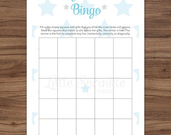 Baby Shower Bingo Cards Blue Stars / Blue Baby Boy Shower Game / Clouds Baby Shower Game / Printable Digital / INSTANT DOWNLOAD
