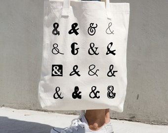 Tote Bag Ampersand Market Grocery Canvas Beige Totes Hostess Gift Writer Blogger Graphic Design Black Typography Ampersands Beach Library