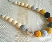 SALE Yellow and gray Nursing Necklace, Breastfeeding Necklace, Teething necklace with crochet beads, Nursing Necklace