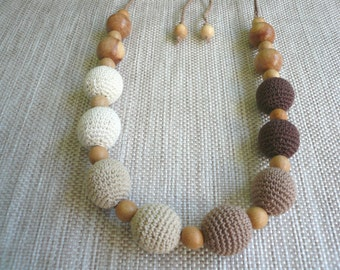 Brown Nursing Necklace, Breastfeeding Necklace, Teething necklace with crochet beads, Eko Necklace