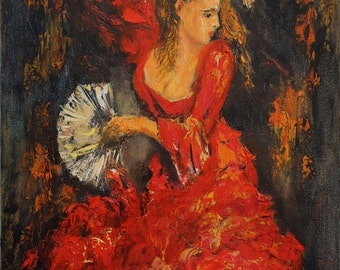 Flamenco Original oil painting, Figurative Canvas painting, Modern wall art, Palette knife painting, Red dress, Wall decor, Woman Dancer