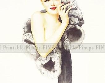 "Vintage Pinup Art Girl // 8""x10"" Printable Digital Download // Classic in Fox Fur"
