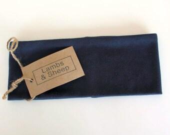 Wide Boho Headband - Navy Blue Headband - 100% Cotton Fabric -  Adult Womens Hairband - Yoga Headband - Fitness Headband - Boho Clothing