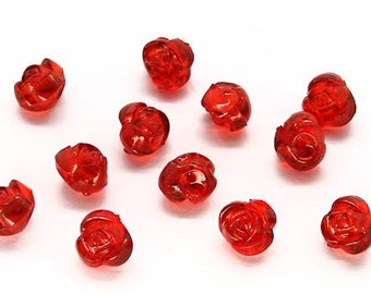 Red rose beads pendant charms for DIY jewelry making supplies, 25 red rose charm beads, spring flower jewelry