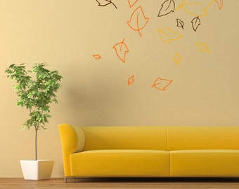 Wall decal Falling Leaves, Leaves wall sticker, Tree wall sticker, Vinyl wall sticker, Wall stencil, Wall decoration