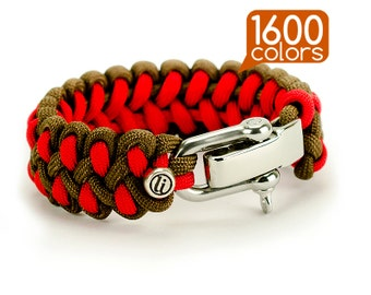 Rope bracelet - Mens rope bracelets «Dragon» with real stainless steel buckle. Create your own survival bracelet from 1600 colors!