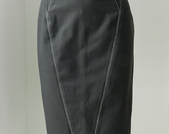 Vintage 1990's Azzedine Alaia Black Cotton Bodycon Pencil Skirt