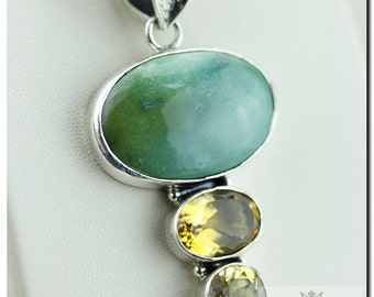 Made in Italy! Genuine Tibet Aged Lime Turquoise Citrine 925 SOLID Sterling Silver Pendant + 4mm Snake Chain & FREE Worldwide Shipping