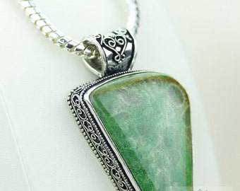 2.5 Inch FOSSILIZED CORAL VINTAGE 925 Solid Sterling Silver Pendant + 4mm Snake Chain p2383