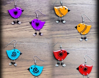 Earrings with birds in various colors
