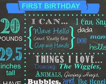 First Birthday Chalkboard Poster Stats Chalkboard Sign Photo Prop Digital Download Printable JPEG Custom Chalkboard First Birthday Sign