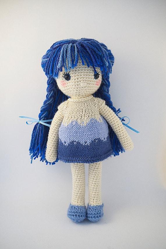 Amigurumi Small Doll : Amigurumi crochet doll Cute little girl with cool blue hair