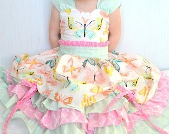 Girls Fancy Dress, Baby Girl Dresses, Butterfly Dress, Toddler Boutique Dress, Tea Party Dress, Boutique Ruffle Dress, Girls Pageant Dress