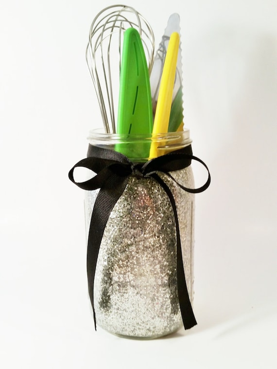 Mason jars wedding centerpieces kitchen decor glitter jar for Kitchen jar decoration