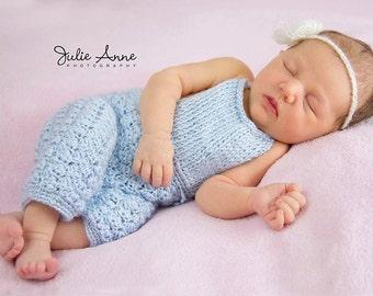 Newborn 0-3 Months Girl Overalls - Knit Crochet - Photography Prop - Newborn Prop - Baby Girl Pants - Overalls - Baby Girl Prop - Pants Prop
