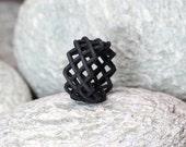 Black Cross Stitch Ring, 3D printed Ring, Nylon Ring,  Cross Ring, x Ring, Embroidery Ring, Black Statement Ring, Geometric Ring