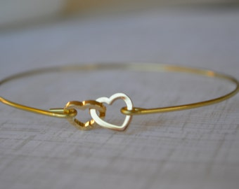 Gold Hearts Bangle- Personalized Bracelet- Pearl Bangle- Bridesmaids Jewelry Gifts- Love Bangle- Stacked Bangles- Initial