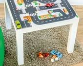 """Kids room decor: Furniture sticker """"Small City"""" for IKEA LACK side table (1M-ST01-01) - Perfect gift for toddler - Furniture not included"""