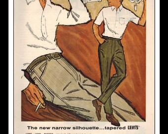"Vintage Print Ad September 1962 : Levi's Jeans Cone Corduroy Wall Art Decor 8.5"" x 11"" Print Advertisement"