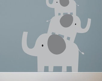 Stacked Elephants Wall Decal