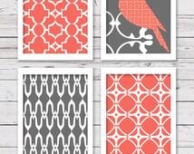 Printable Art Set, Bird Art, Coral and Gray Art, Printable Art, Bedroom Art, INSTANT DOWNLOAD, Printable Wall Art, Home Decor, Wall Decor