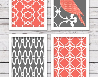Printable Art Set, Bird Art, Coral and Gray Art, Printable Art, Bedroom Art, INSTANT DOWNLOAD, Printable Wall Art, Home Decor, Wall Decor