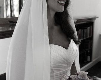 Juliet Cap Veil, Chiffon Veil, Wedding Veil, Chiffon Flower, Juliet Veil, Cap Veil, Vintage Art Deco Veil, Star Wars wedding -LEIA