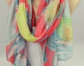 New Fashion Women Scarves, Infinity Scarf, Coral Scarf, Tribal Scarf, Yellow Striped Scarf, Pink Scarf, Women's Fashion