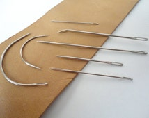 Needle set with 7 different needles, sail, curved, upholstery, sack, carpet, Glover's needle, etc. Handy needles for sewing tough materials