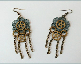 Steampunk earrings, Turquoise green earrings, Steampunk jewelry, Gears earrings, Steampunk gift, Filigree earrings, Gift for her