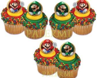 Mario and Luigi Cupcake Topper Rings, Super Mario Cupcake Topper, Nintendo Cupcake toppers, Luigi Cupcake Toppers, Mario Cupcake Toppers