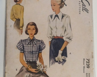 Vintage 1950's McCall Pattern 7239, Women's Blouse, Size 16, Bust 34