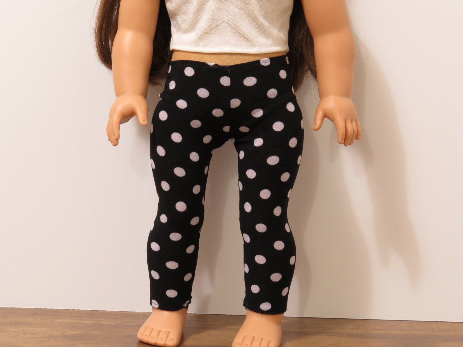 Black and White Polka Dot Leggings for 18 Doll by BrittanoDesigns