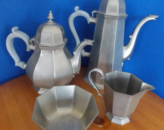 Pewter Teaset, Gorham Pewter from 1974-early 80's *** Octette Hollow Ware ***