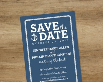 Nautical Save The Date / Wedding Reminder / Rope Border With Infinity Knot, Anchor, Initials ▷ Printed Wedding Invitations {or} Printable