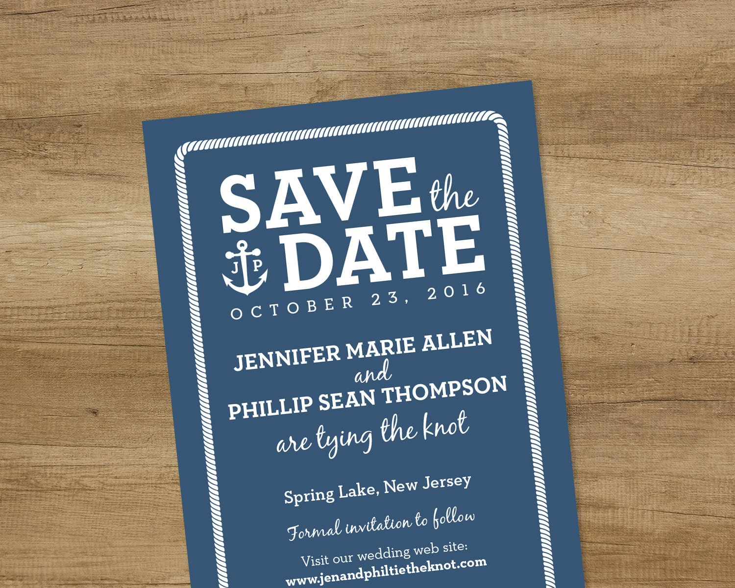 nautical save the date wedding reminder rope border with