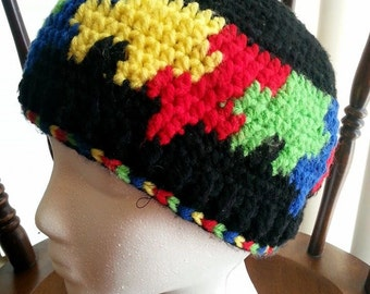 Made-to-Order Crocheted Autism Awareness/ Puzzle Piece Beanie