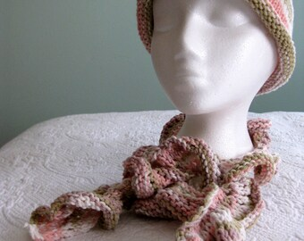 Hand Knit Rolled Brim Hat and Curly Scarf Set Cotton Pink and Green Pastel