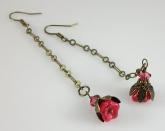 Vintage Style Bronze Fuchsia Pink Czech Glass Flower Long Chain Earrings