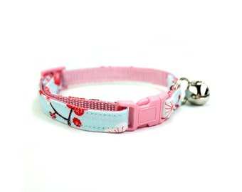 Cherry Blossom Cat Collar Baby Blue Pink Floral Red Flower Cat Collar Breakaway Safety with Bell - Akiko