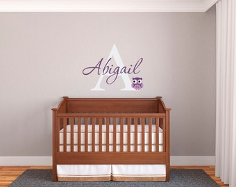 Personalized Name Decal with Initial and Owl
