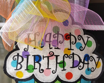 Happy Birthday Cupcake Hand Painted Burlap Door Hanger Decoration and Wreath Replacement