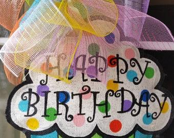 Happy Birthday Cupcake Hand Painted Burlap Door Hanger Decoration and Wreath Replacement