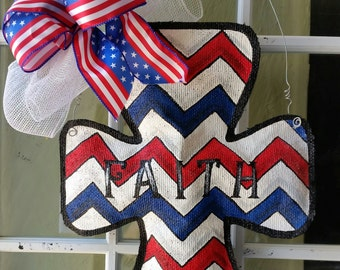 Cross burlap door hanging, patriotic decorations, Hand painted burlap door hangers, door decorations, holiday decorations,