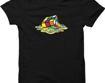 Melted Rubix Cube Popular Tv Show T Shirt Sheldon Cooper Funny Mens Gift Shirt Smart T-shirt