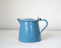 Blue enamelware enamel French milk pot. Vintage enamelware. Kitchen decor. Garten Decor - kitchen decor french home french kitchen