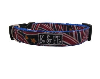 Swirling Flag Buckle Dog Collar