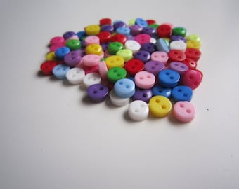 100 6mm resin mini buttons