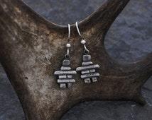 Inukshuk sterling silver earrings