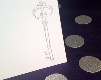 Embossed Note Cards - Folded - Skeleton Key - Silver and White - Set of 8